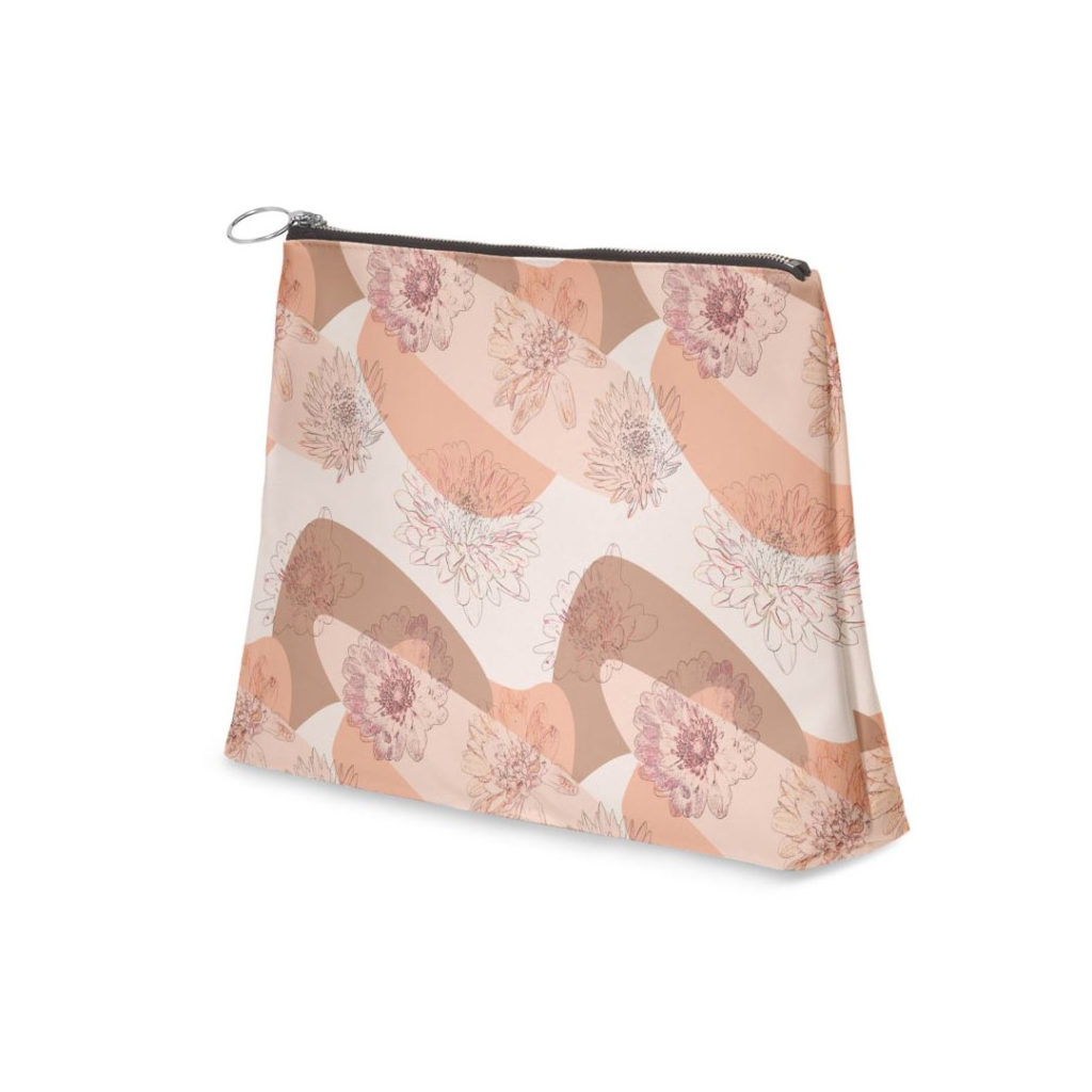 Canvas Zipper Shell Clutch - Light weight pouch (Cosmetic bag) - Jentacular Dahlia (Pastel Pink) Floral Pattern - Lisa Tsukamoto Designs