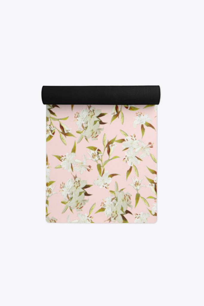 Click to see the details of Eco-Friendly Yoga Mat - Lilies in Pink